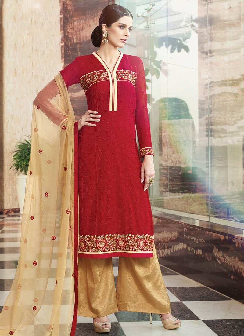 Affectionate Faux Georgette Palazzo Style Party Wear Salwar Suit