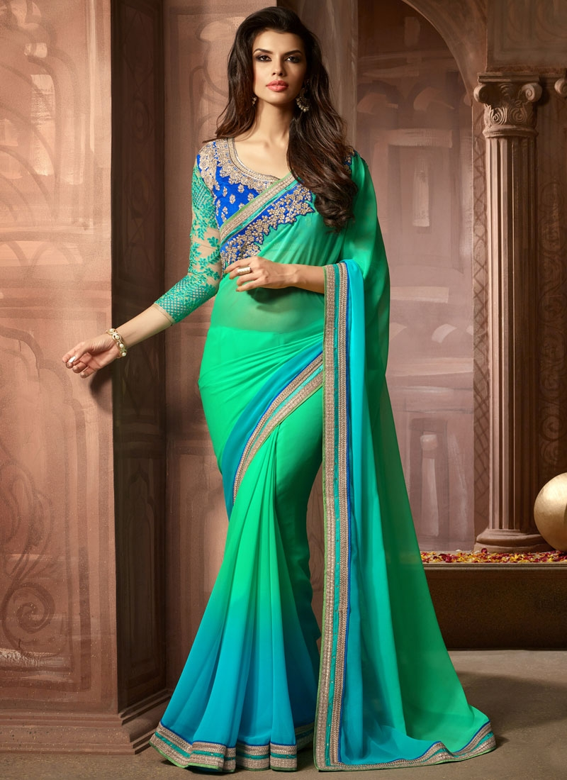 Affectionate Faux Georgette Resham Work Party Wear Saree