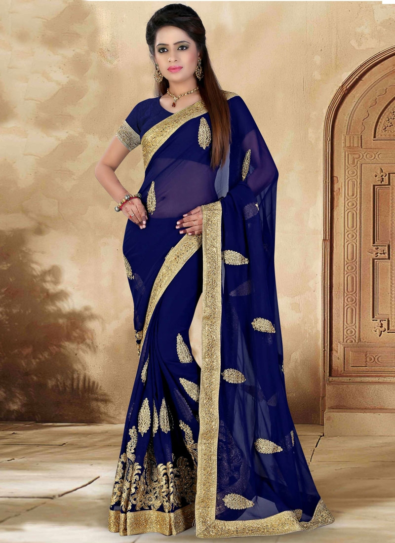 Affectionate Faux Georgette Stone Work Designer Saree