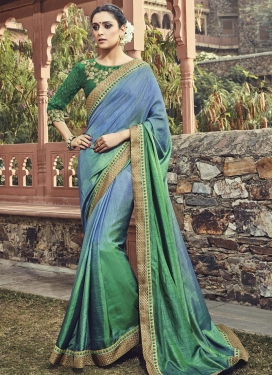 Affectionate Green and Light Blue Lace Work Contemporary Saree