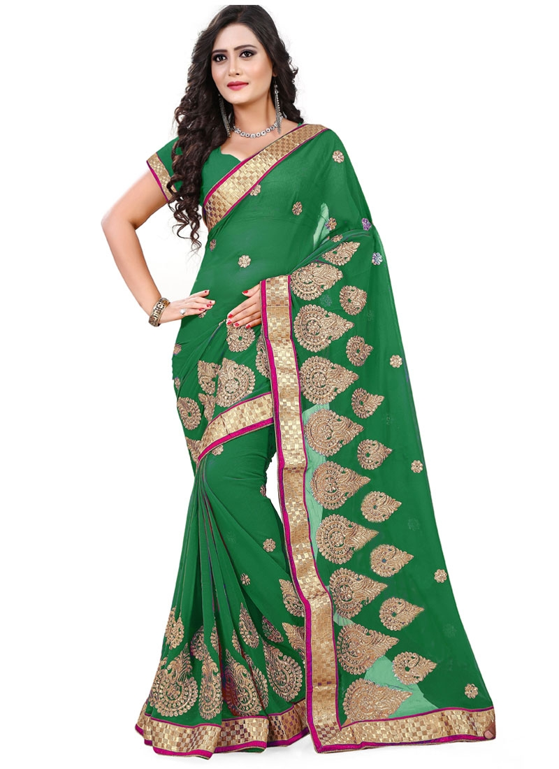 Affectionate Green Color Faux Chiffon Party Wear Saree