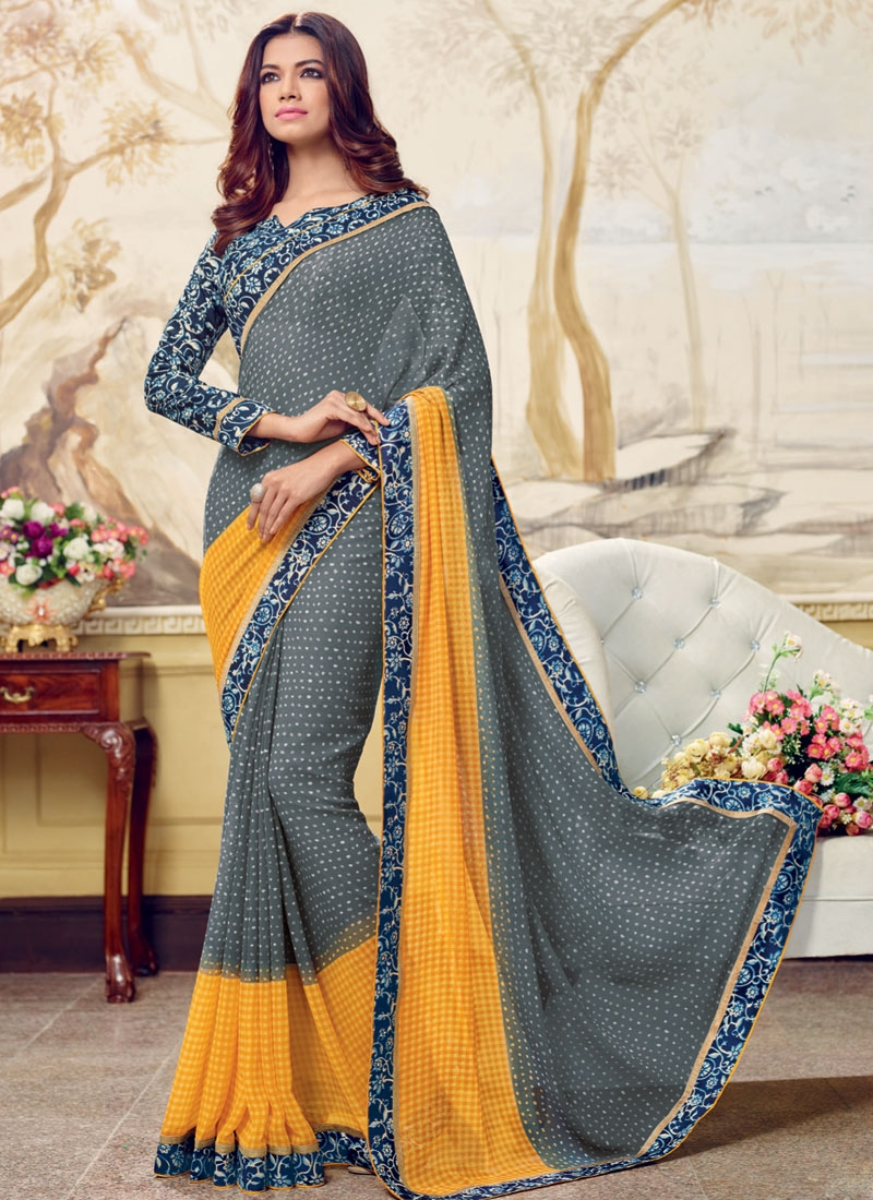 Affectionate  Grey And Mustard Color Casual Saree