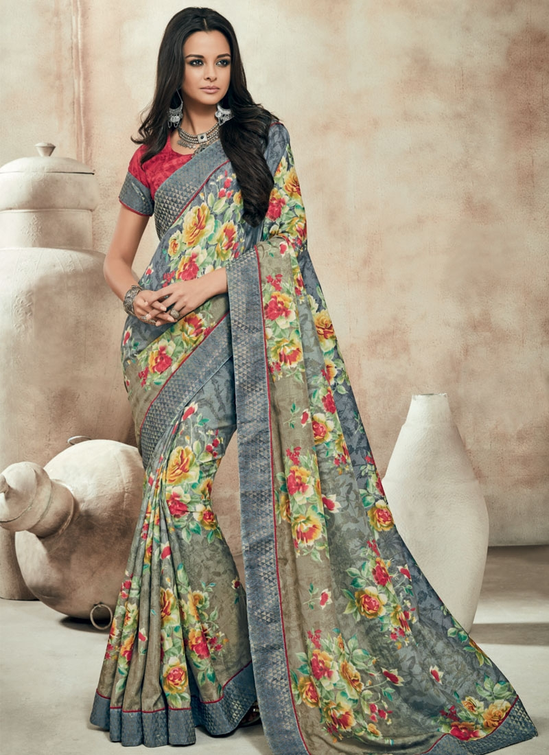 Affectionate Grey Color Lace Work Party Wear Saree