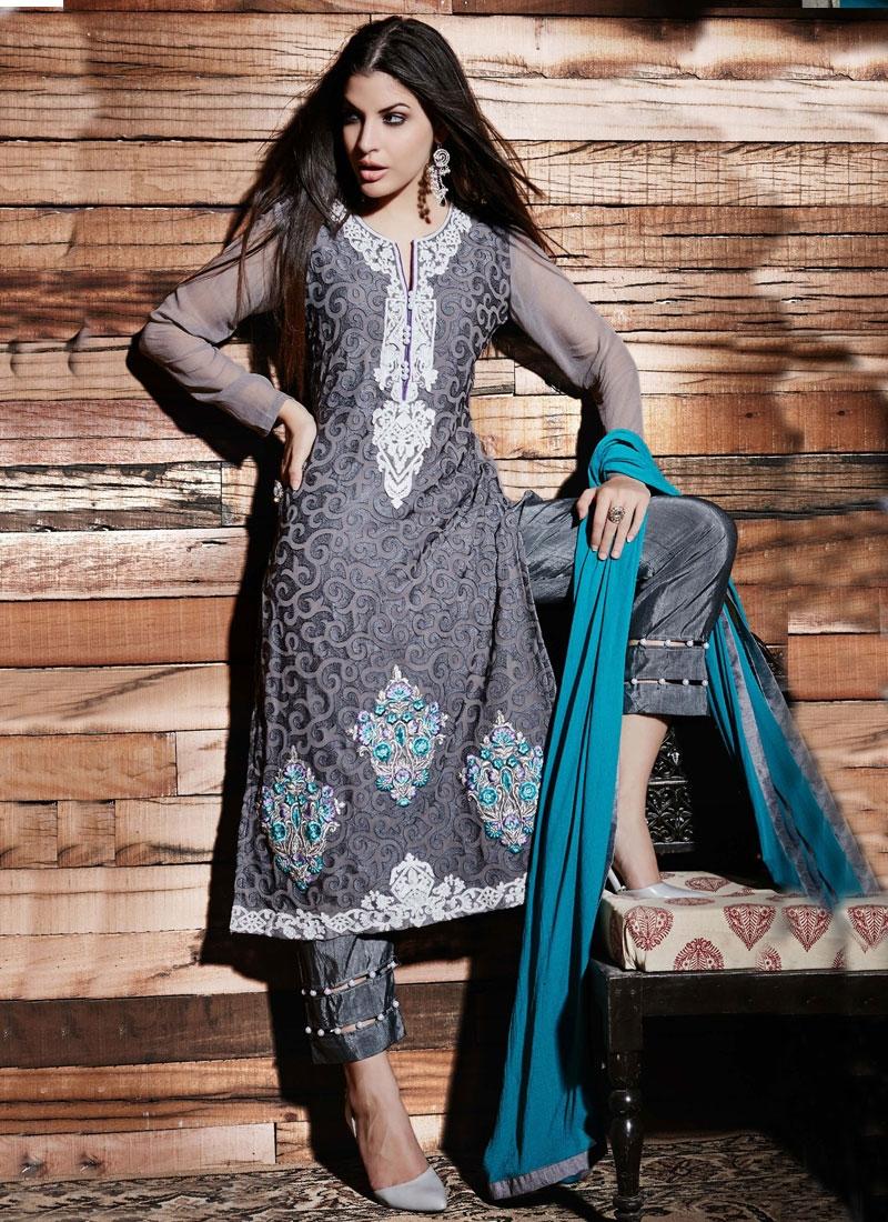 Affectionate Grey Color Pant Style Designer Salwar Kameez