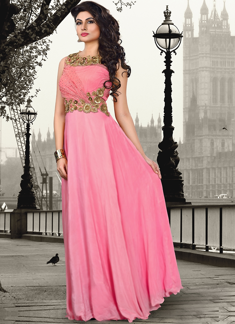 Affectionate Hot Pink Color Party Wear Readymade Gown