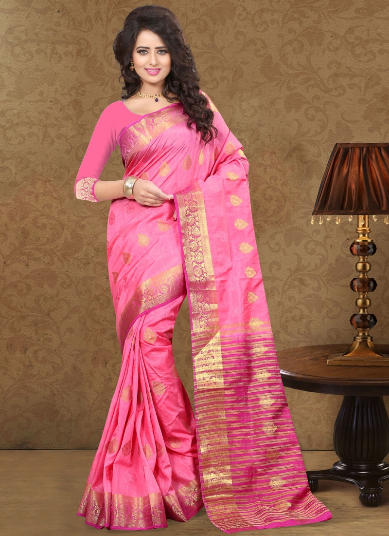 Affectionate Hot Pink Color Party Wear Saree