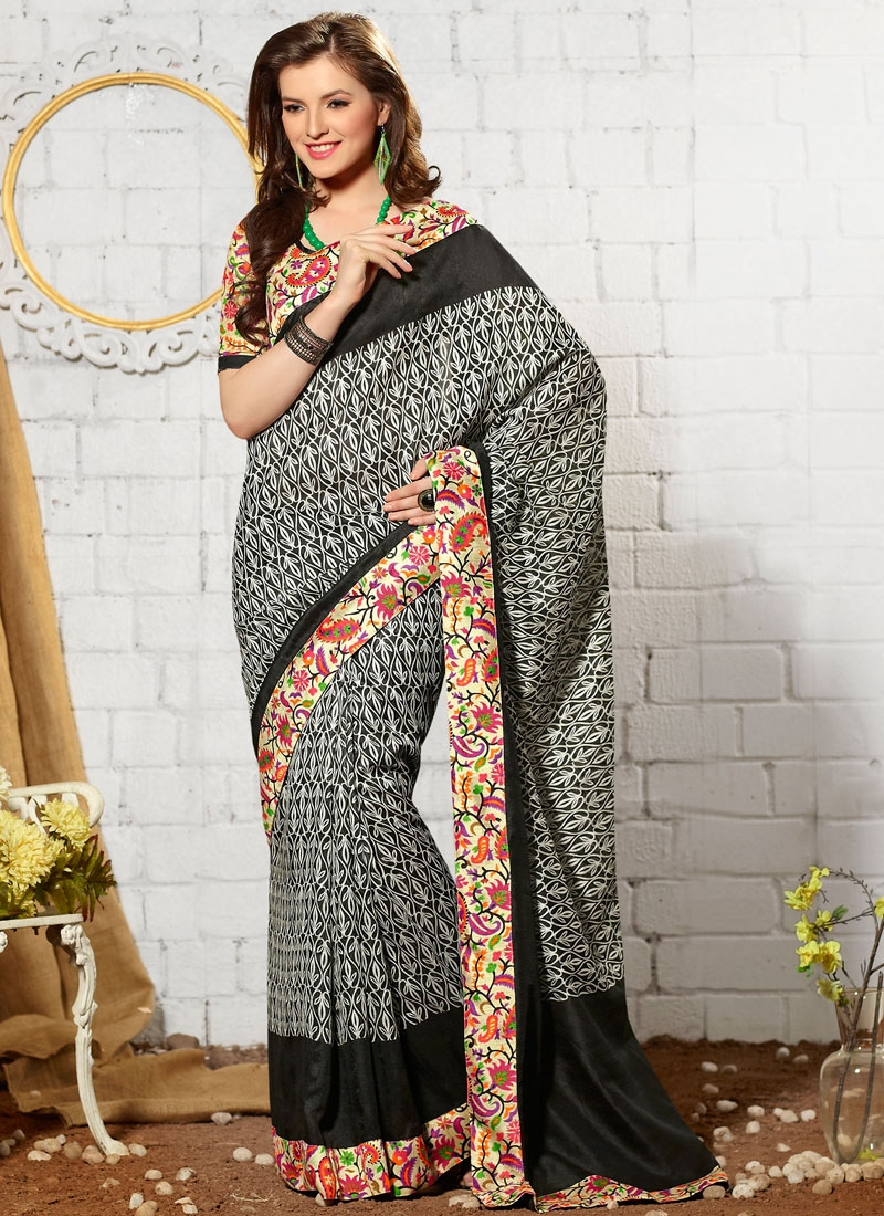 Affectionate Lace And Abstract Print Work Casual Saree