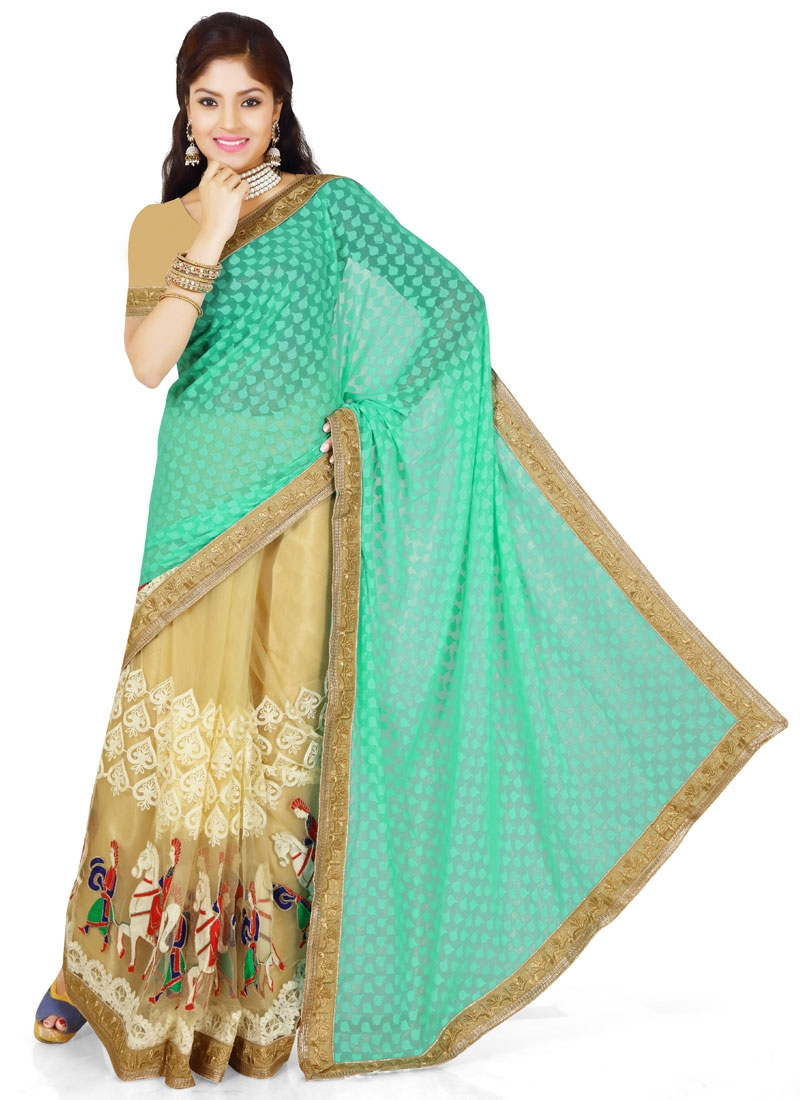 Affectionate Lace Work Brasso Half N Half Designer Saree