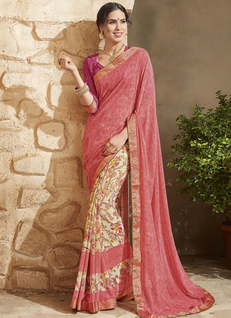 Affectionate Lace Work Salmon Color Half N Half Party Wear Saree