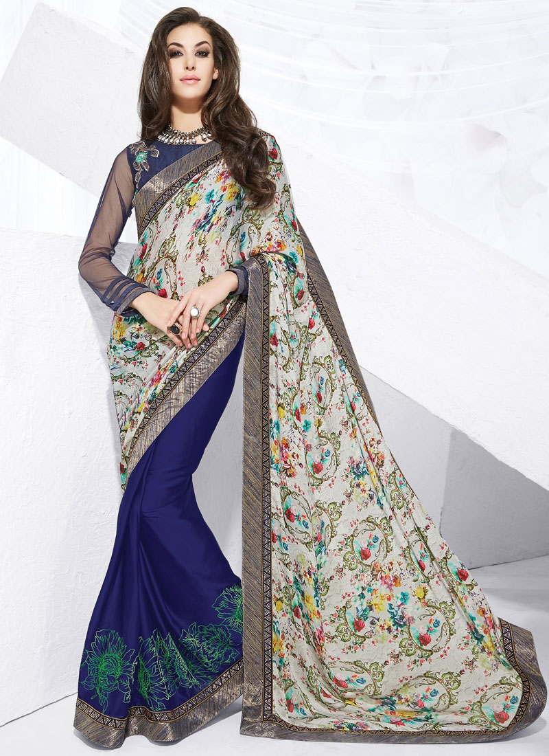 Affectionate Lace Work Silk Georgette Half N Half Designer Saree