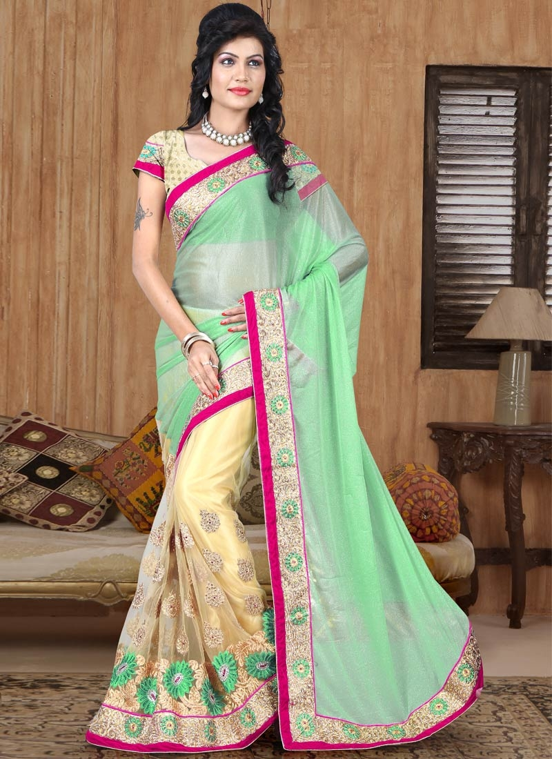 Affectionate Mint Green Color Lycra Half N Half Wedding Saree