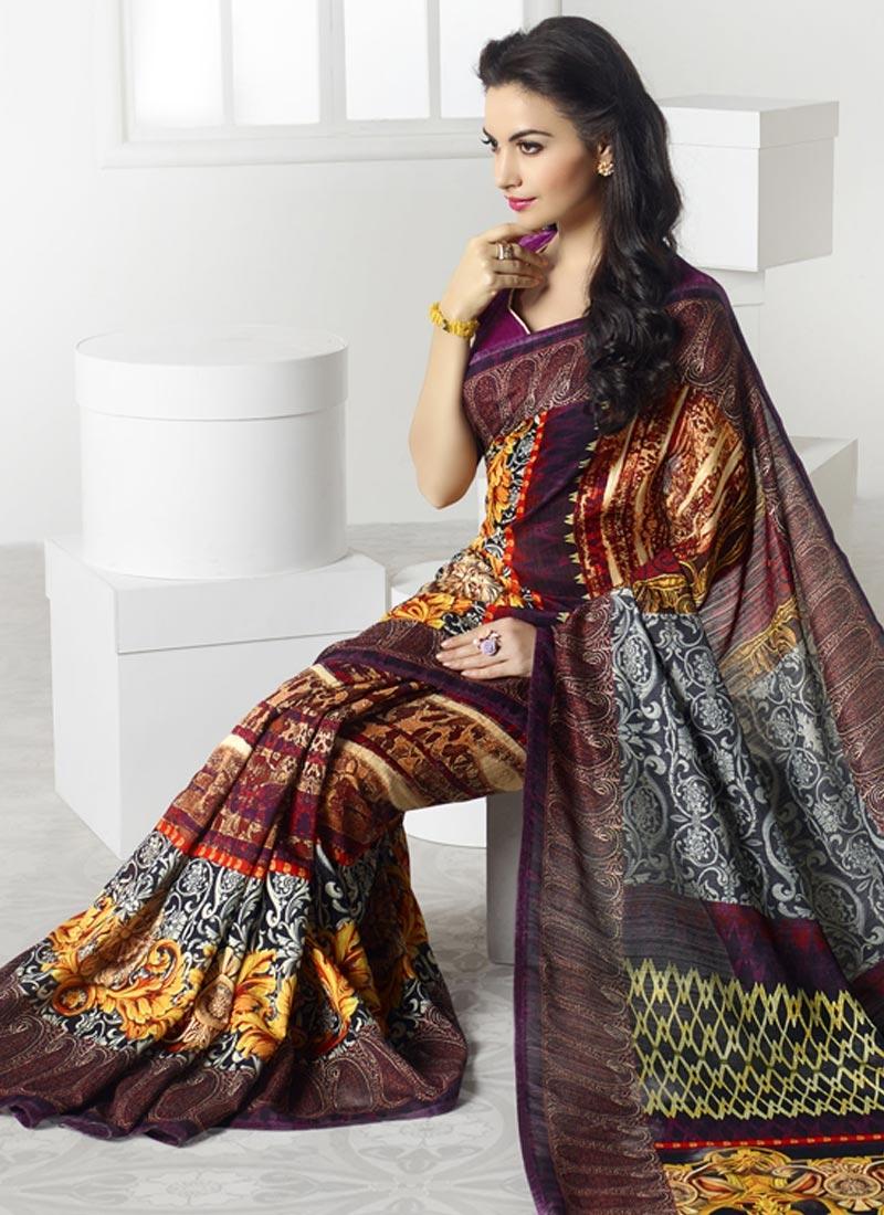 Affectionate Multi Color Linen Casual Saree