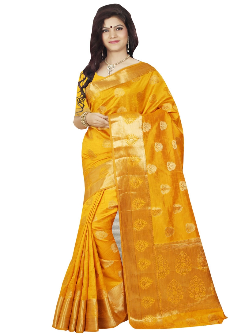 Affectionate Mustard Color Resham Work Casual Saree