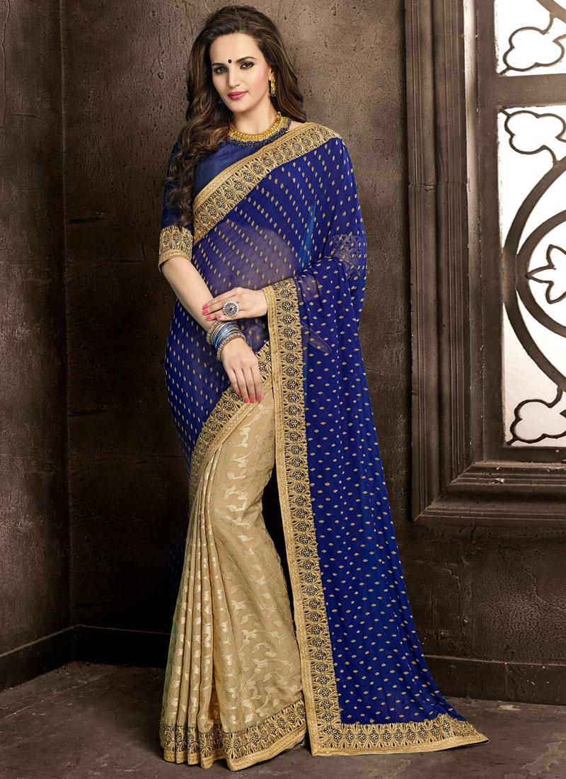 Affectionate Navy Blue And Beige Color Half N Half Designer Saree