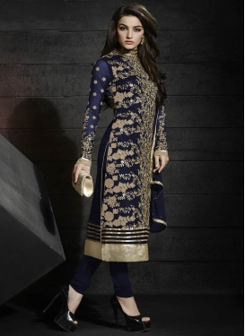 Affectionate Navy Blue Color Resham Work Designer Salwar Suit
