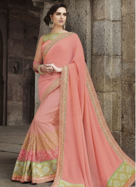 Affectionate Patch Border Work Salmon Color Designer Saree