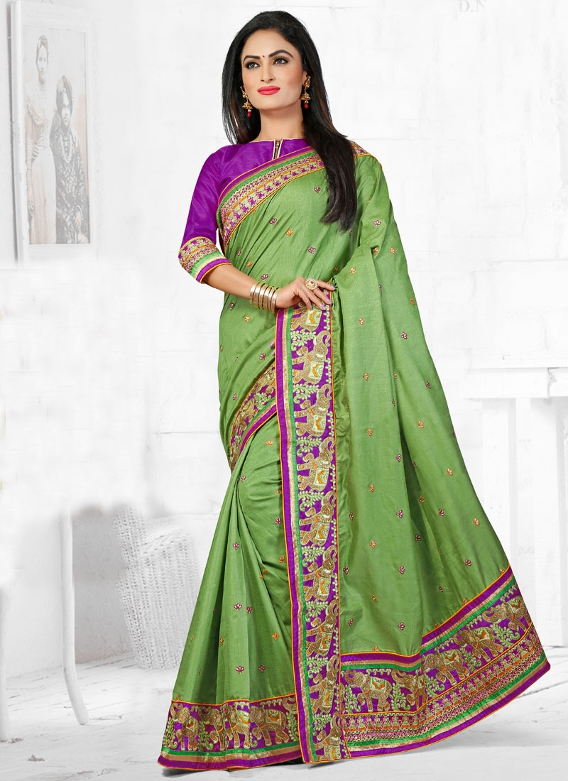Affectionate Patch Border Work Wedding Saree