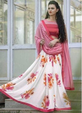 Affectionate  Pink and White Half N Half Trendy Saree