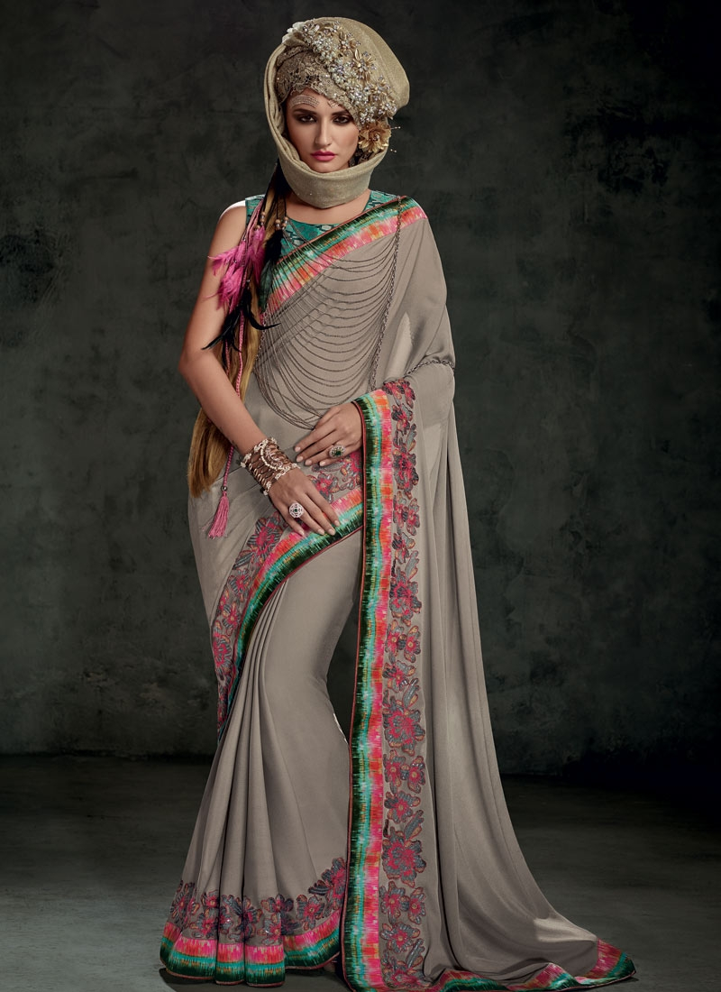 Affectionate Resham And Sequins Work Designer Saree