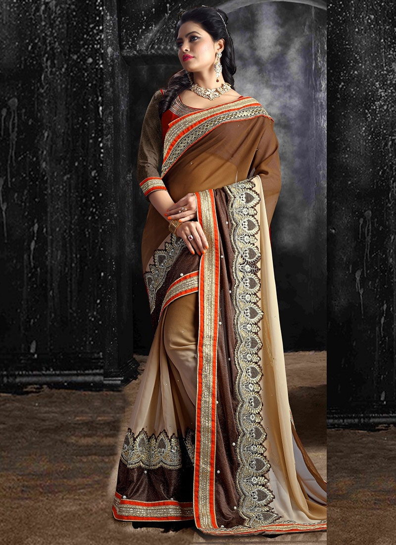 Affectionate Resham And Stone Work Party Wear Saree