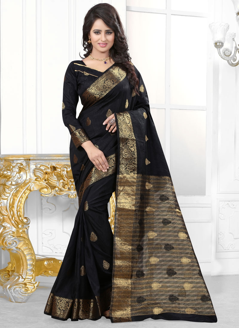 Affectionate Resham Work Black Color Party Wear Saree