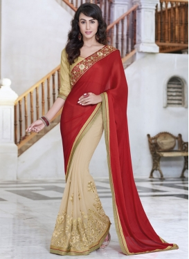 Affectionate Resham Work Chiffon Satin Half N Half Party Wear Saree
