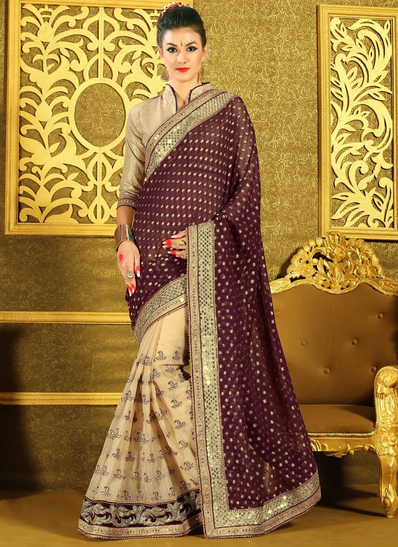 Affectionate Sequins Work Faux Chiffon Half N Half Wedding Saree