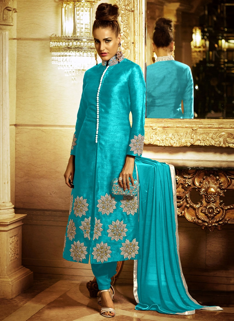 Affectionate Stone Work Bhagalpuri Silk Pant Style Designer Suit
