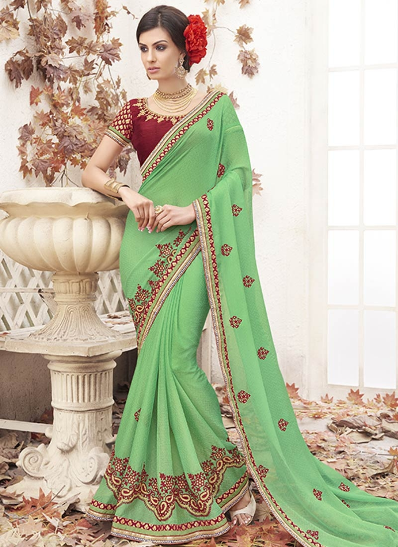 Affectionate Stone Work Faux Georgette Party Wear Saree