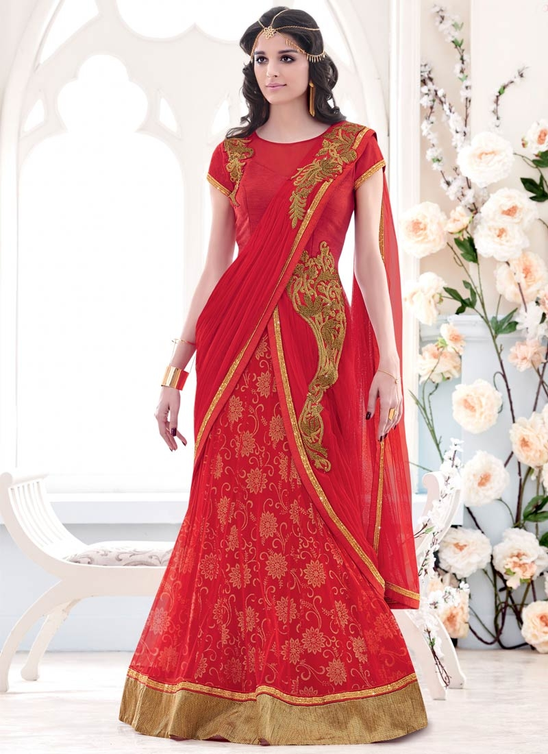 Affectionate Stone Work Red Color Wedding Lehenga Saree