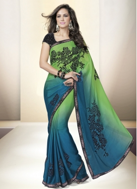 Affectionate Stone Work Satin Designer Saree