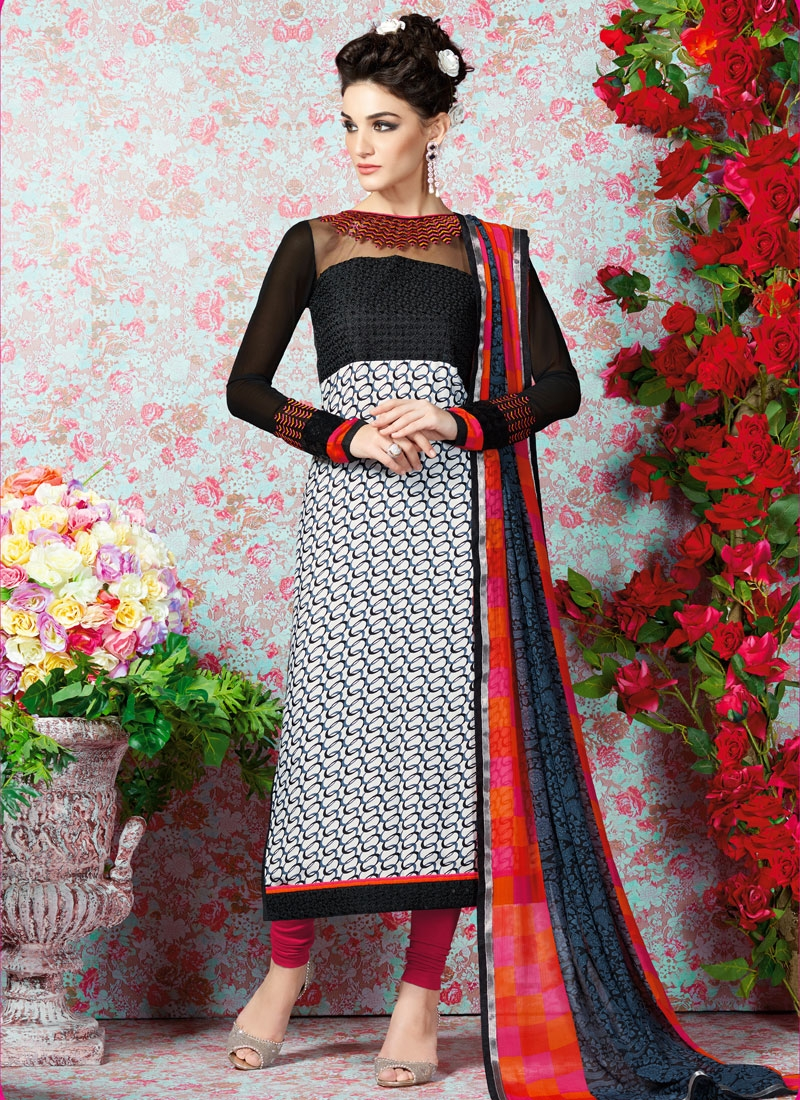 Affectionate White And Black Color Casual Salwar Kameez