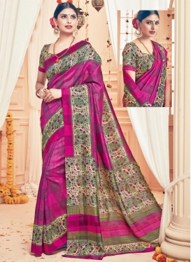 Alluring  Beige and Magenta Contemporary Style Saree For Casual