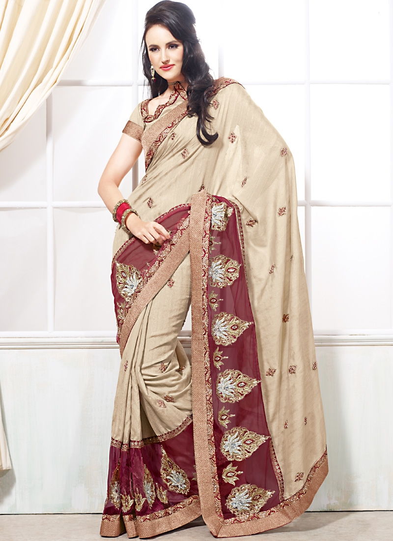 Alluring Beige And Maroon Color Saree