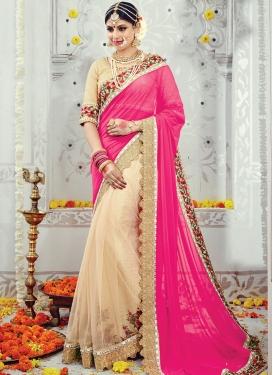 Alluring  Beige and Rose Pink Beads Work Designer Half N Half Saree