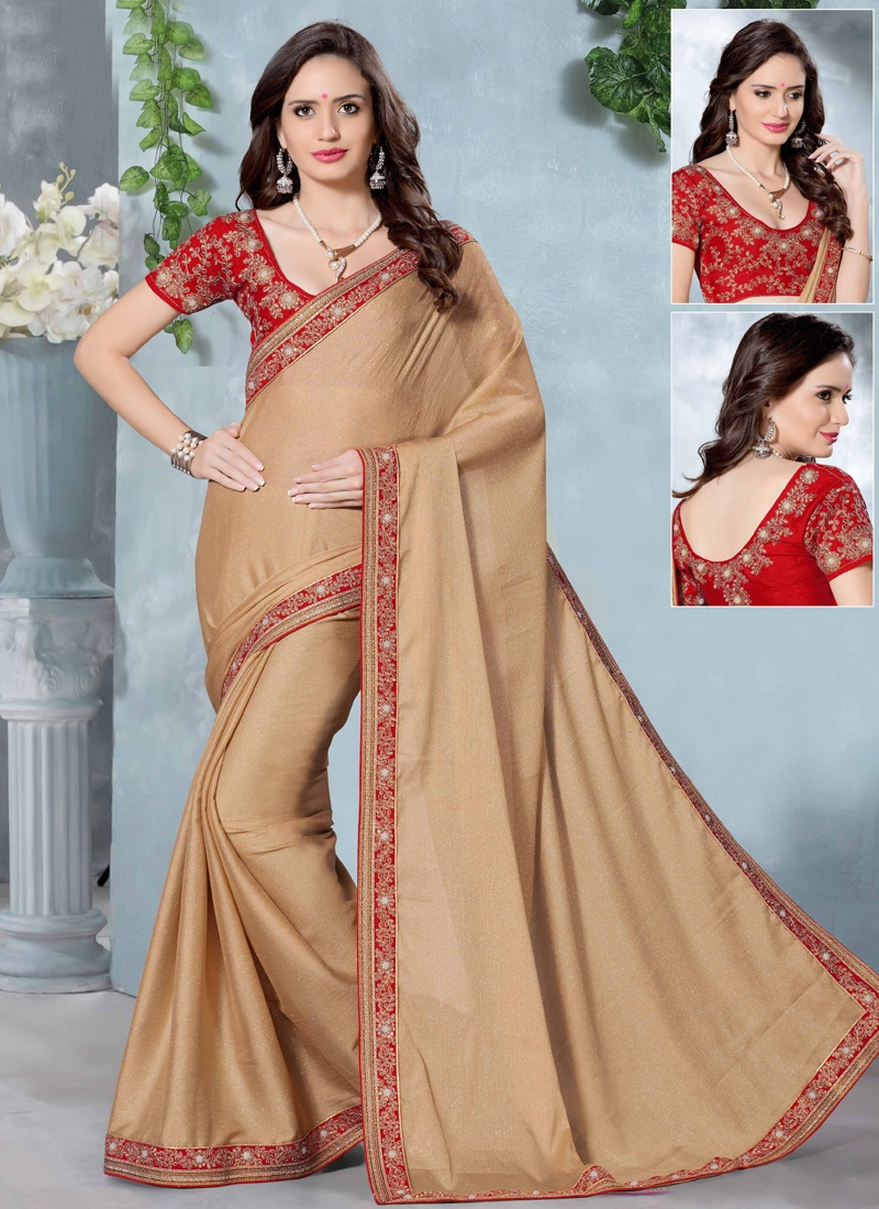 Alluring Beige Color Party Wear Saree