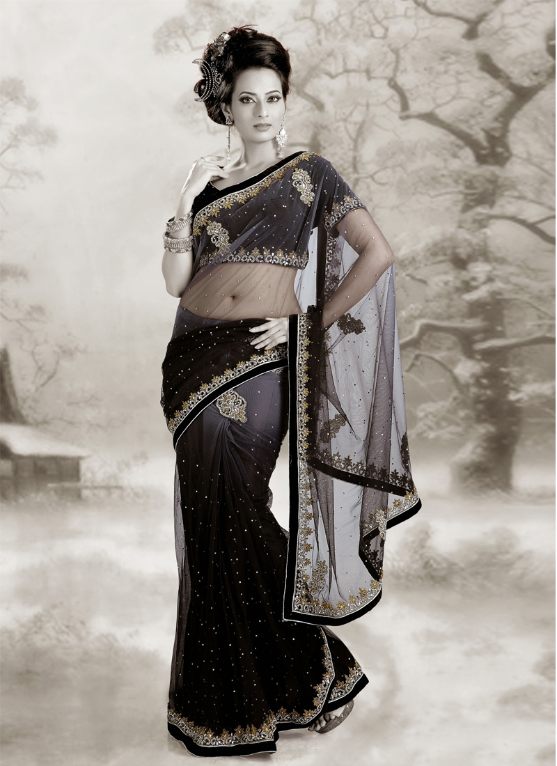Alluring Black And Gray Color Net Party Wear Saree