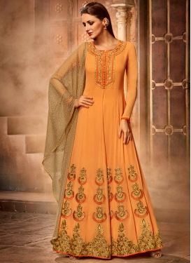 Alluring Booti Work Faux Georgette Floor Length Anarkali Salwar Suit