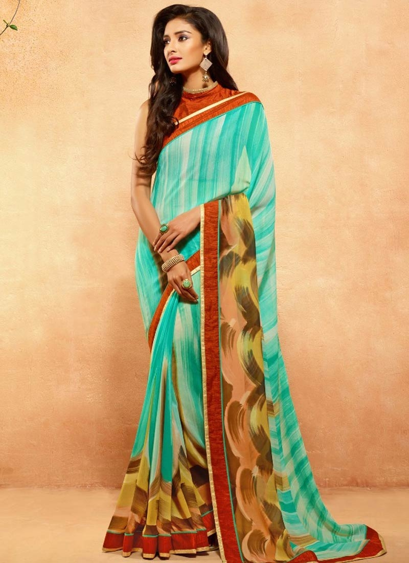 Alluring Digital Print Work Turquoise Color Casual Saree