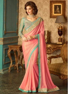 Alluring Embroidered Work Shimmer Georgette Trendy Saree For Ceremonial