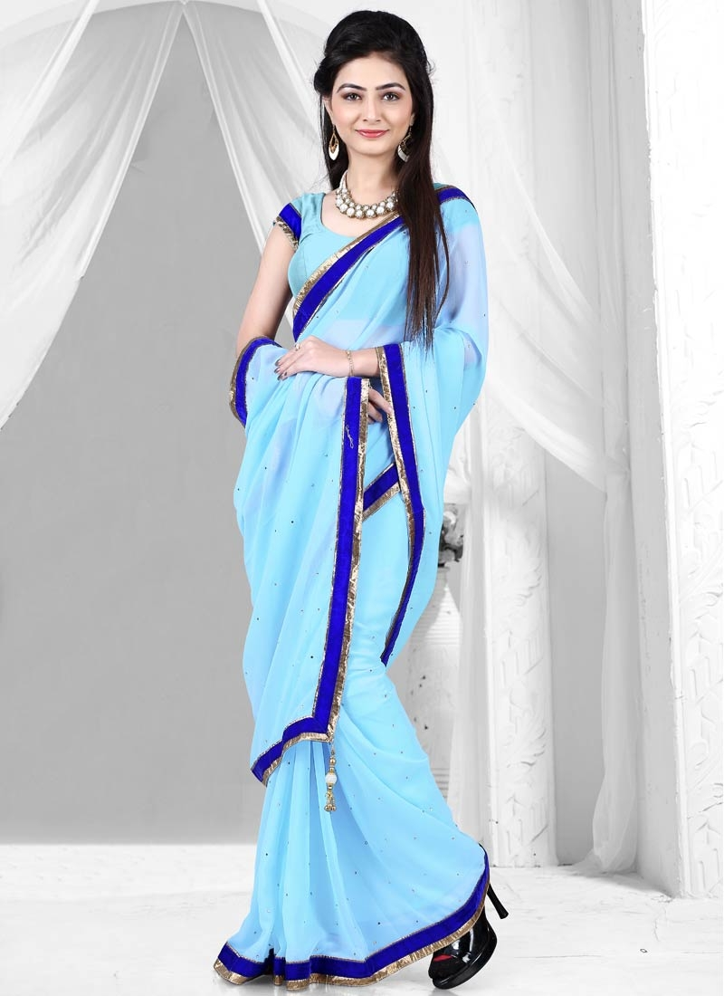 Alluring Faux Georgette Stone Work Casual Saree