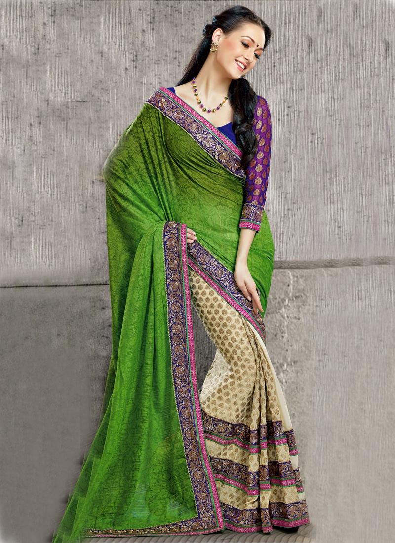 Alluring Green And Cream Half N Half Saree