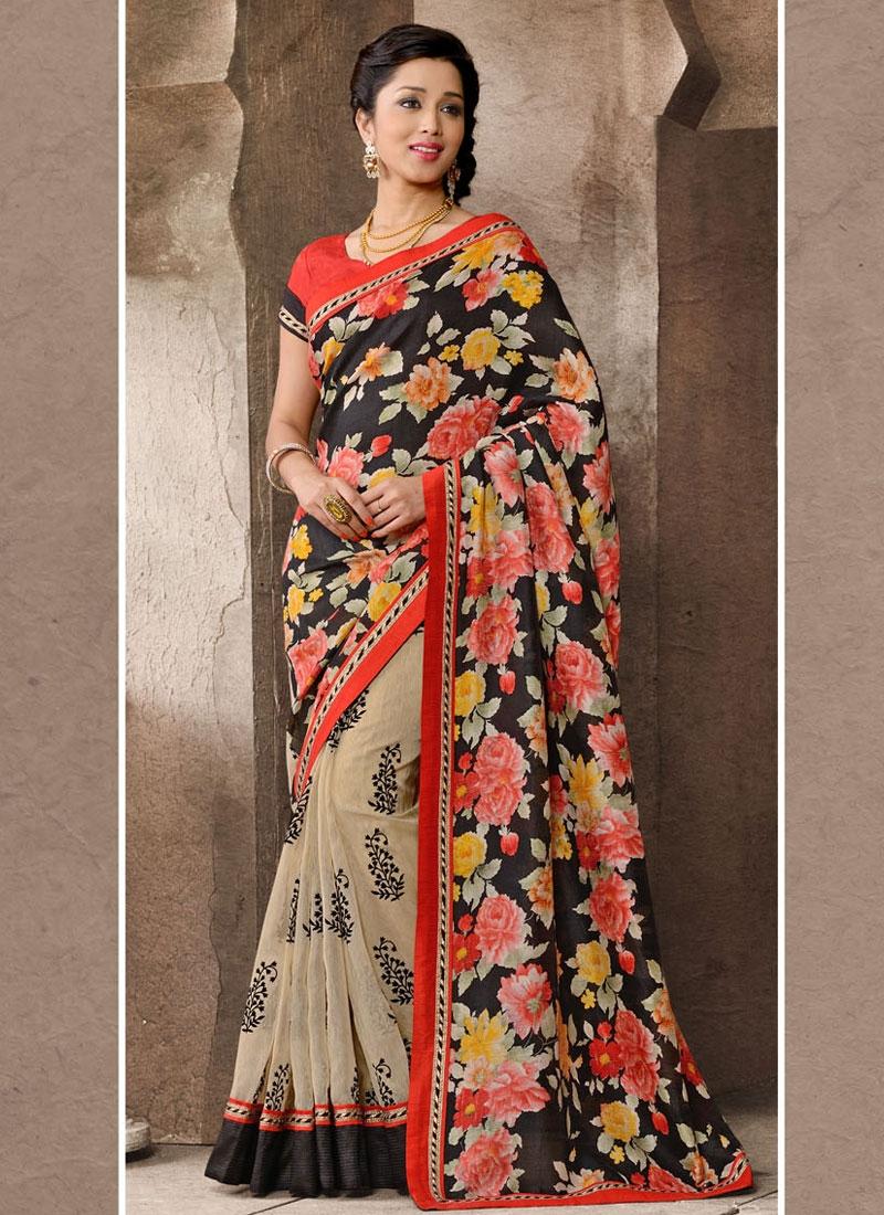 Alluring Lace Work Printed Half N Half Casual Saree