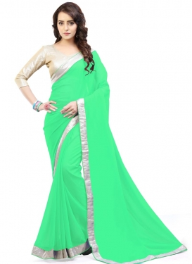 Alluring Lace Work Trendy Classic Saree