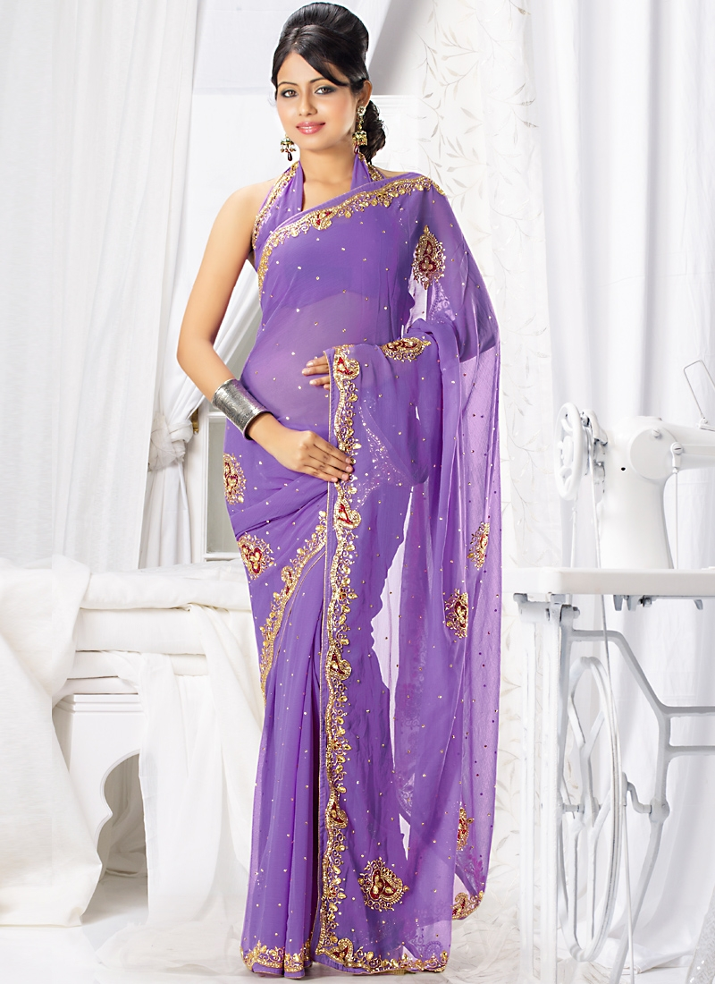 Alluring Lavender Chiffon Designer Saree