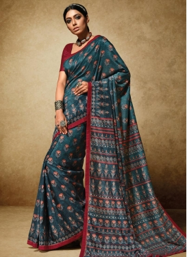 Alluring Maroon and Teal Contemporary Style Saree For Ceremonial