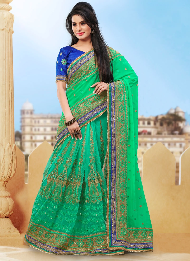 Alluring Mint Green Color Pure Georgette Bridal Saree