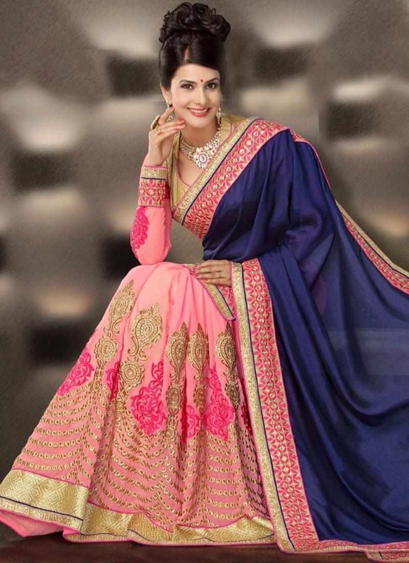 Alluring Navy Blue And Pink Color Half N Half Designer Saree