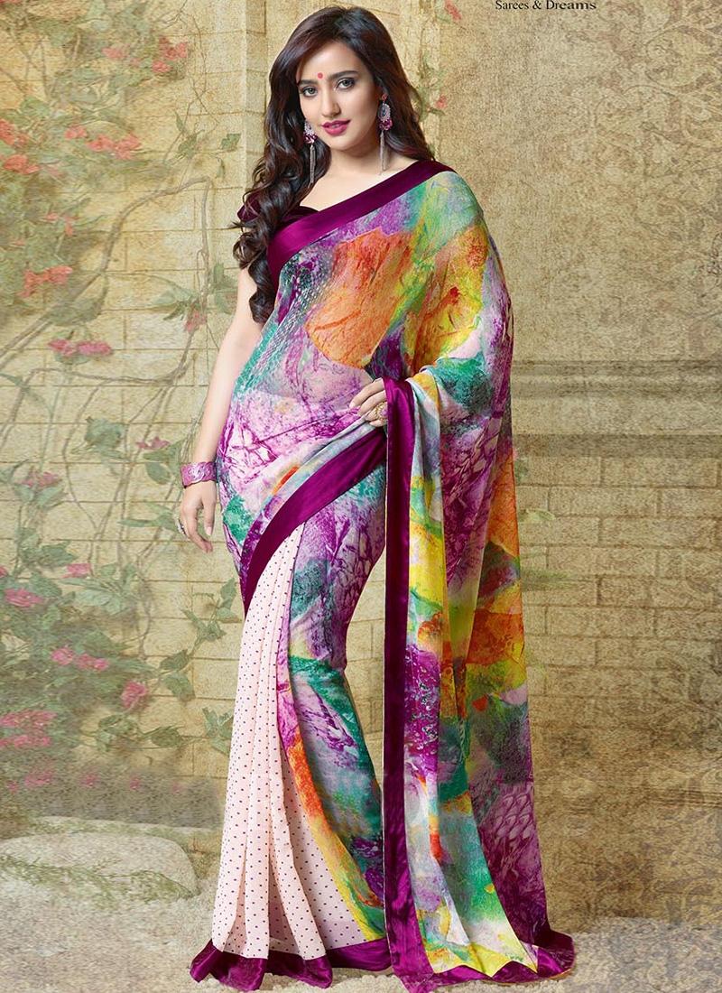 Alluring Neha Sharma Multi Color Georgette Half N Half Casual Saree