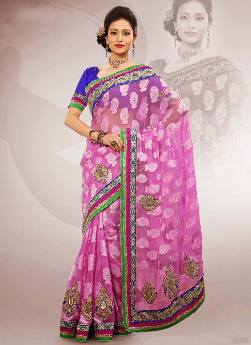 Alluring Pink Color Chiffon Party Wear Saree